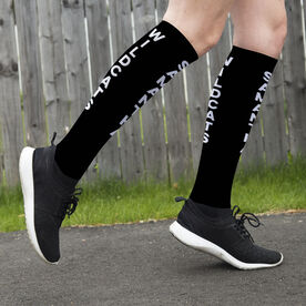 Printed Knee-High Socks - Personalized Text Vertical