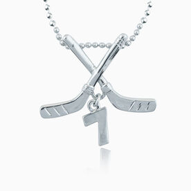 Silver Plated Hockey Stick Necklace with 1 Jersey Number