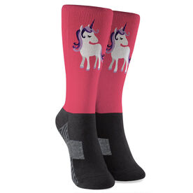 Personalized Printed Mid-Calf Socks - Personalized Unicorn