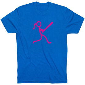 Softball Tshirt Short Sleeve Stick Figure Batter