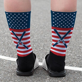 Skiing Printed Mid-Calf Socks - USA Stars and Stripes