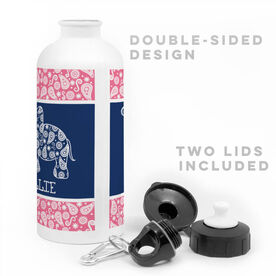 Girls Lacrosse 20 oz. Stainless Steel Water Bottle - Personalized Lax Elephant