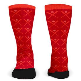 Customized Printed Mid Calf Team Socks Softball Bats Pattern