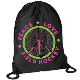 Peace Love Field Hockey (Flowers) Sport Pack Cinch Sack
