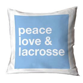 Girls Lacrosse Throw Pillow - Peace Love & Lacrosse