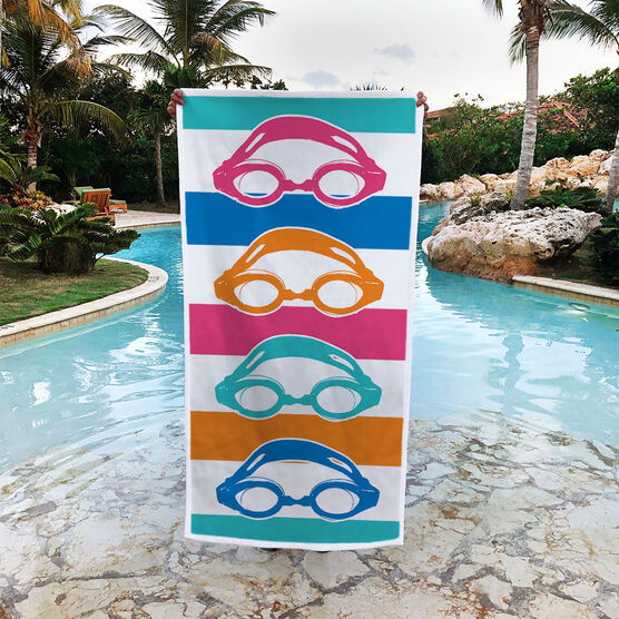 Swimming Premium Beach Towel - Colorful Swim Goggles
