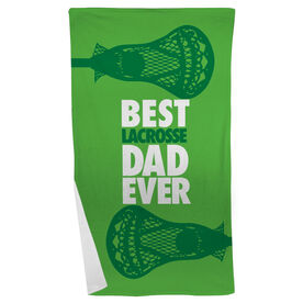 Guys Lacrosse Beach Towel Best Dad Ever