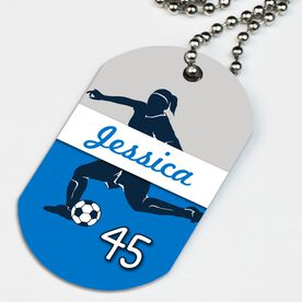 Soccer Printed Dog Tag Necklace Personalized Soccer Girl Name and Number
