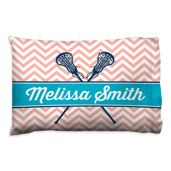 Girls Lacrosse Pillowcase - Personalized Sticks Chevron