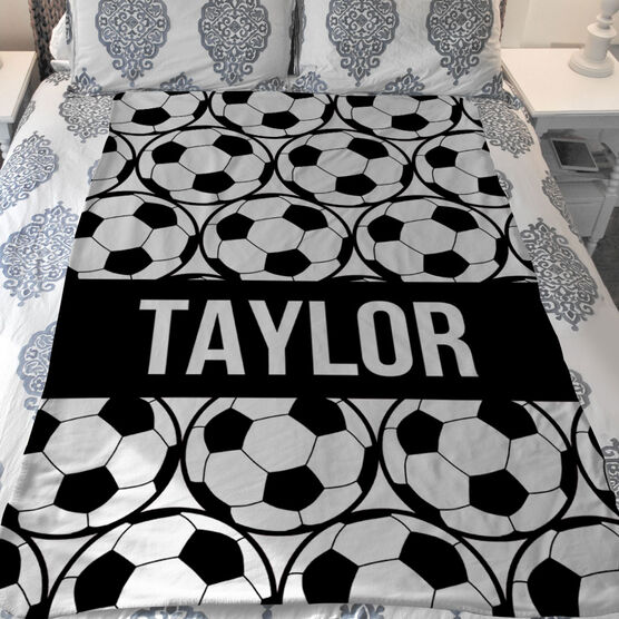 Soccer Sherpa Fleece Blanket - Personalized Side By Side Ball Pattern