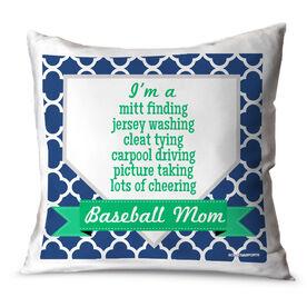 Baseball Throw Pillow Baseball Mom Poem