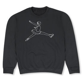 Figure Skating Crew Neck Sweatshirt - Figure Skating Player Sketch