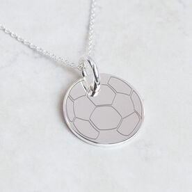 Sterling Silver 20mm Circle Necklace Soccer