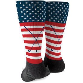 Golf Printed Mid-Calf Socks - USA Stars and Stripes