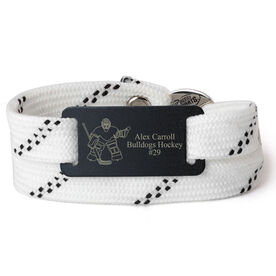 Adjustable Hockey Lace Bracelet With Slider - Personalized Goalie