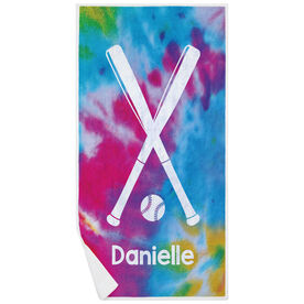 Softball Premium Beach Towel - Personalized Tie Dye Pattern with Bats