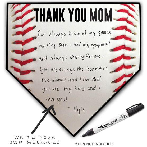 Baseball Home Plate Plaque - Thank You Mom