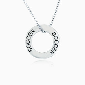 Soccer Message Ring Necklace