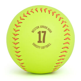 Personalized Engraved Softball - Player Number With Custom Text