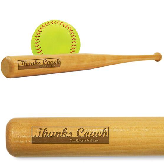 Softball Mini Engraved Bat Thanks Coach (SIGN ME)