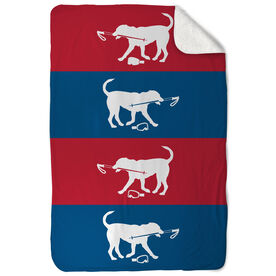 Skiing Sherpa Fleece Blanket - Dog Fan