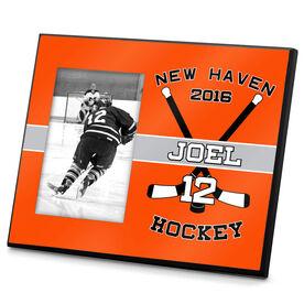 Hockey Personalized Photo Frame Crossed Hockey Sticks