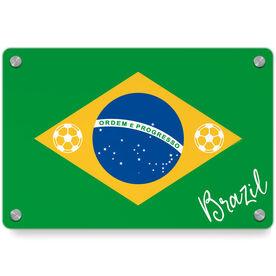 Soccer Metal Wall Art Panel - Brazil