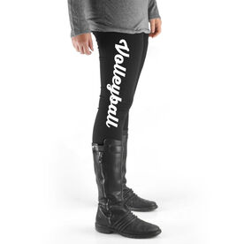 Volleyball High Print Leggings - Volleyball Script (Small)