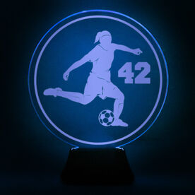 Soccer Acrylic LED Lamp Soccer Girl With Number