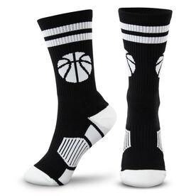 Basketball Woven Mid-Calf Socks - Ball (Black/White)