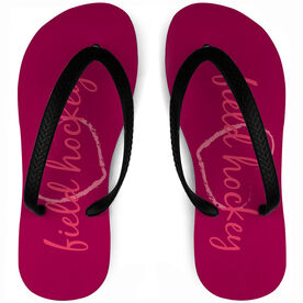 Field Hockey Flip Flops Love