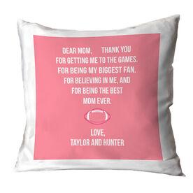 Football Throw Pillow - Dear Mom Heart