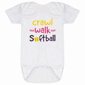 Softball Baby One-Piece - Crawl Walk Softball