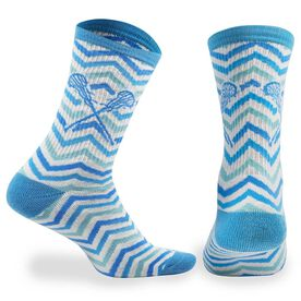 Girls Lacrosse Woven Mid-Calf Socks - Chevron (White/Blue/Teal)