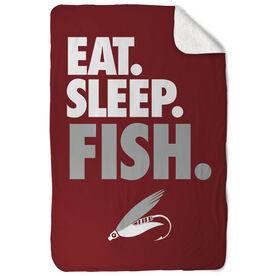 Fly Fishing Sherpa Fleece Blanket - Eat. Sleep. Fish. Vertical
