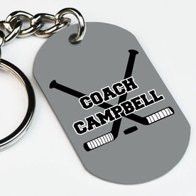 Hockey Printed Dog Tag Keychain Personalized Coach with Crossed Sticks