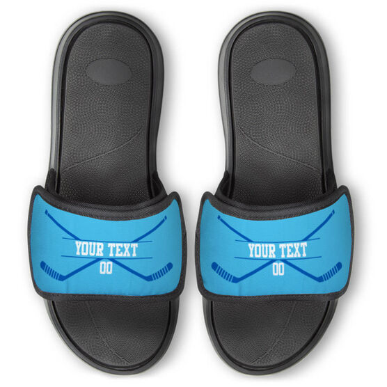 Hockey Repwell® Slide Sandals - Personalized Crossed Sticks