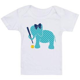 Softball Baby T-Shirt - Softball Elephant with Bow