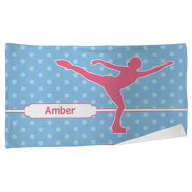 Figure Skating Beach Towel Personalized Figure Skater with Polka Dots