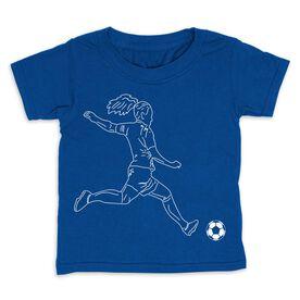 Soccer Toddler Short Sleeve Tee - Soccer Girl Player Sketch
