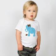 Football Baby T-Shirt - Football Elephant with Bow