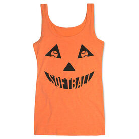 Softball Women's Athletic Tank Top - Softball Pumpkin Face