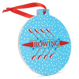 Crew Round Ceramic Ornament - Scull with Holiday Lights