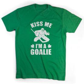 Hockey Tshirt Short Sleeve Kiss Me I'm A Goalie