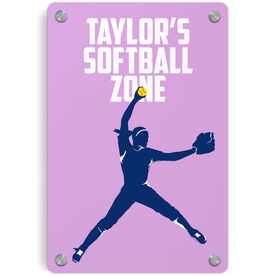 Softball Metal Wall Art Panel - Personalized Softball Zone Pitcher