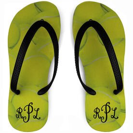 Tennis Flip Flops Monogrammed Ball Background