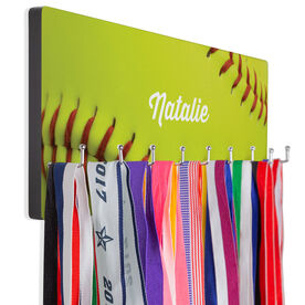 Softball Hooked on Medals Hanger - Ball With Personalization