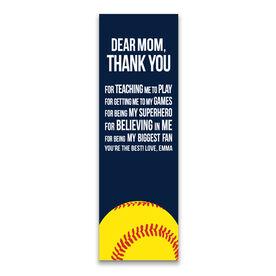 "Softball 12.5"" X 4"" Removable Wall Tile - Dear Mom (Vertical)"