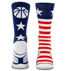 Basketball Woven Mid-Calf Socks - Stars and Stripes