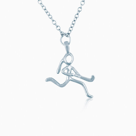Sterling Silver Field Hockey Girl (Stick Figure) Necklace